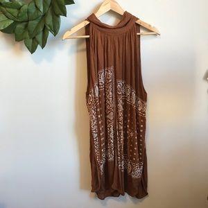 Free People Brown Sleeveless Bandana Printed Dress
